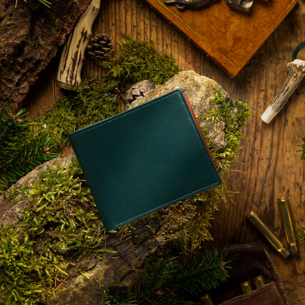 Men's leather wallet ANTORINI Nature Collection, Green Cognac-ANTORINI®