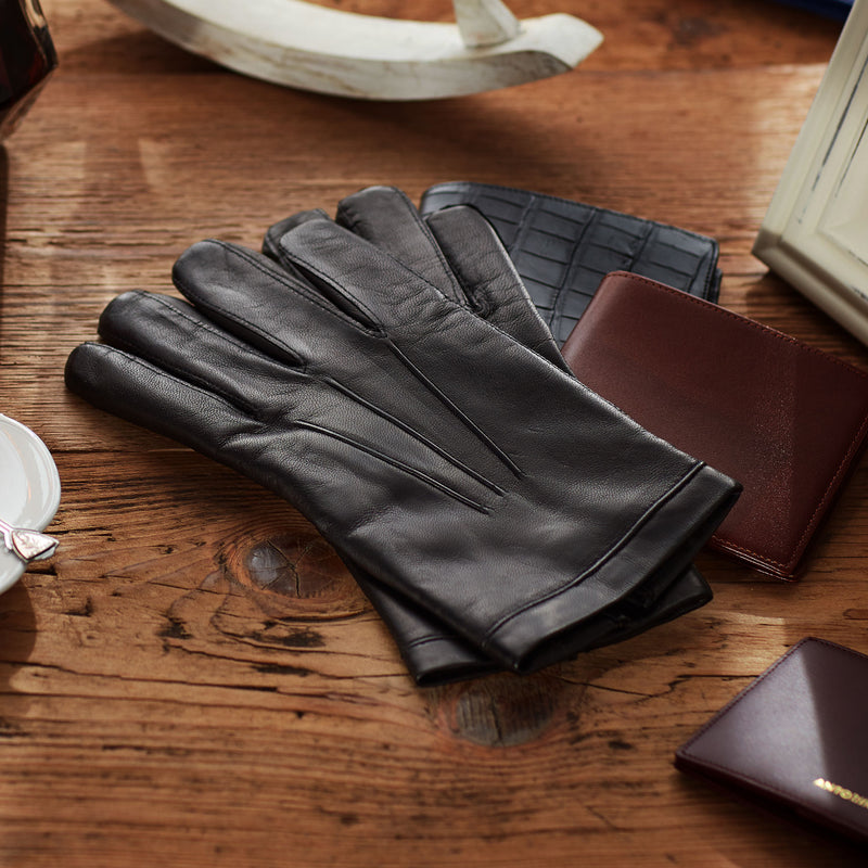 Leather Gloves for Men with Cashmere Lining in Black Colour-ANTORINI®