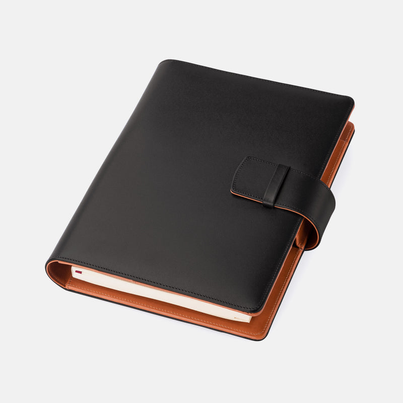 Leather A5 Padfolio in Black and Cognac with Notepad-ANTORINI®