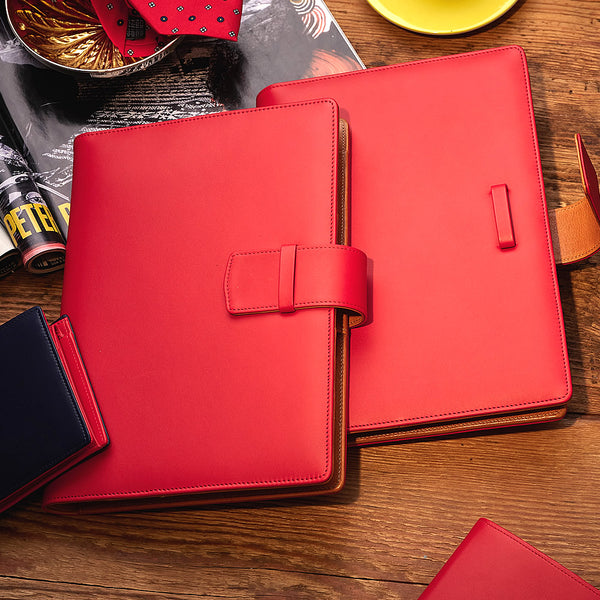 Multifunctional Leather A5 Journal/Diary and Note Pad in Red & Cognac