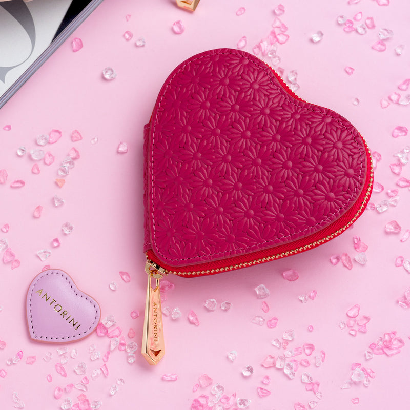 ANTORINI Heart Coin Purse, Fuchsia with Flowers