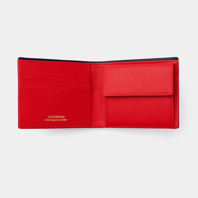 Men's Leather Wallet Essence in Navy and Red-ANTORINI®