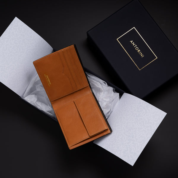 Men's Wallet in Black Croc and Cognac-ANTORINI®