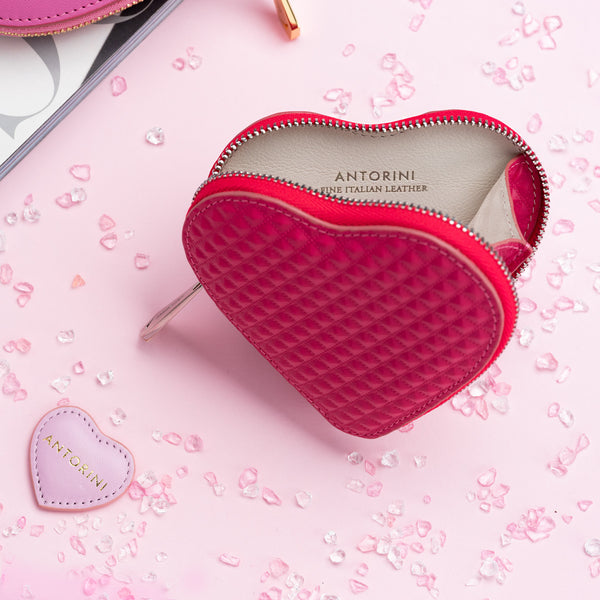 ANTORINI Heart Coin Purse, Fuchsia with Pyramids