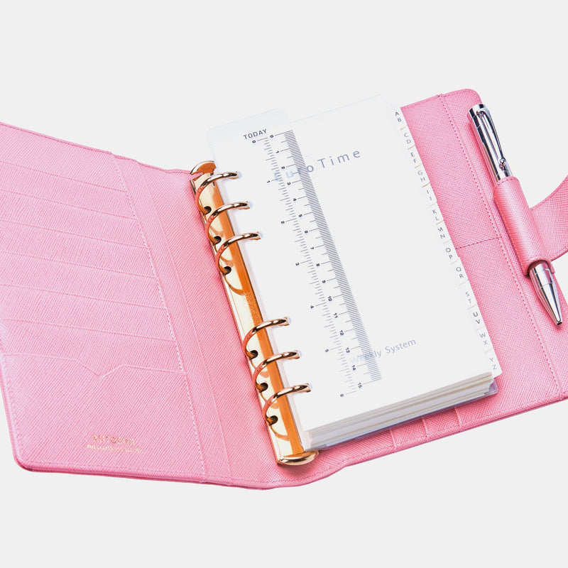 Leather Manager A6 Agenda in Pink Saffiano