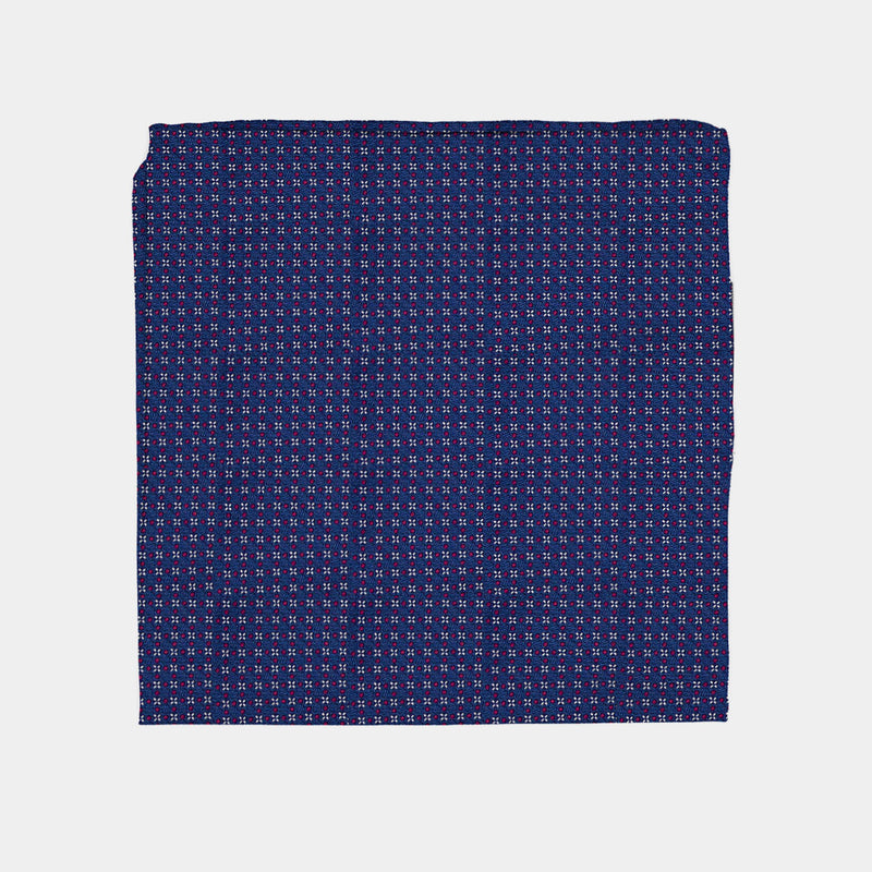 Navy Pocket Square With Crosses-ANTORINI®