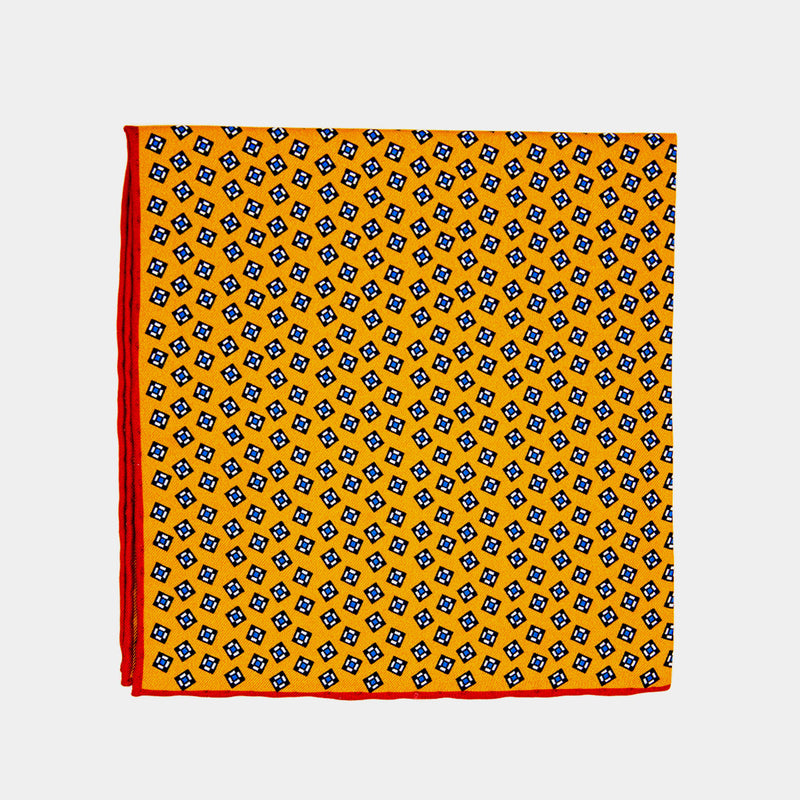 Silk Pocket Square, Yellow With Squares-ANTORINI®