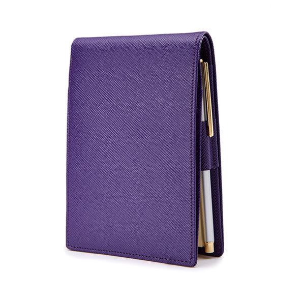 Pocket Memo Pad in Purple Saffiano