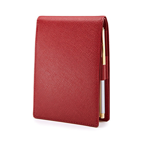 Pocket Memo Pad in Red Saffiano