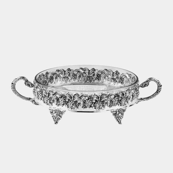 Glass Fruit Bowl with Silver Plated Leaves and Grapes-ANTORINI®