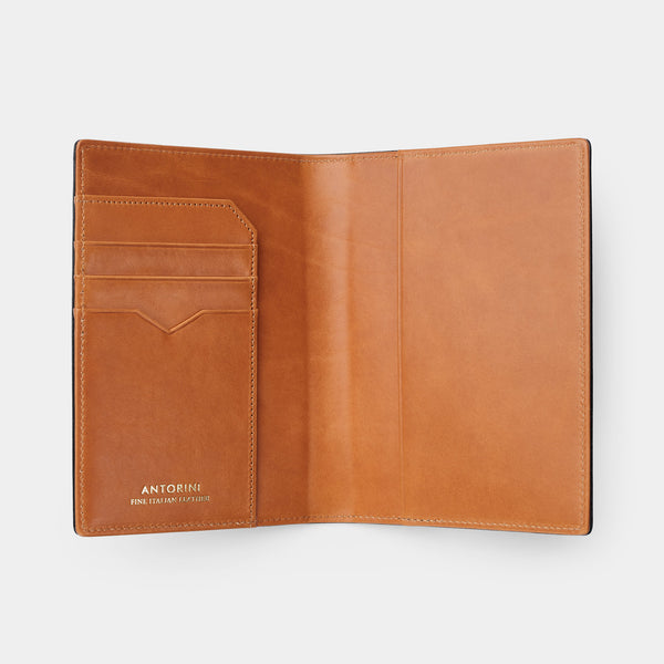 Passport Cover in Black Croc and Cognac-ANTORINI®