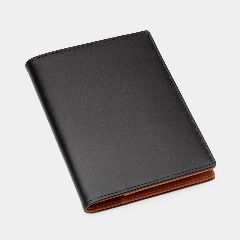 Passport Cover in Black and Cognac-ANTORINI®
