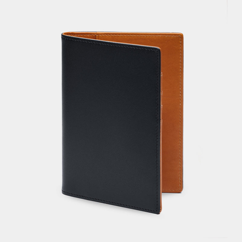 Men/'s New World Travel Handcrafted Leather Passport Holder Black Cover Case