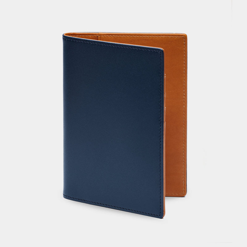 Passport Cover in Navy and Cognac-ANTORINI®