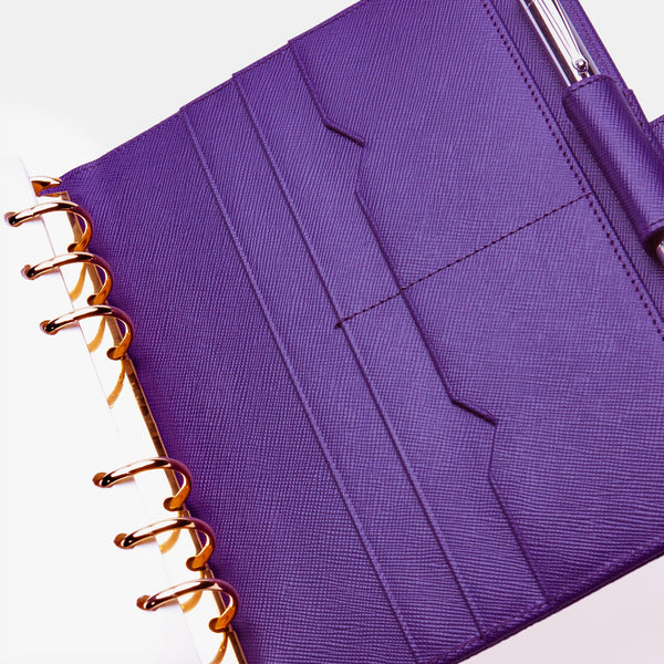 Leather Manager A6 Agenda in Purple Saffiano-ANTORINI®