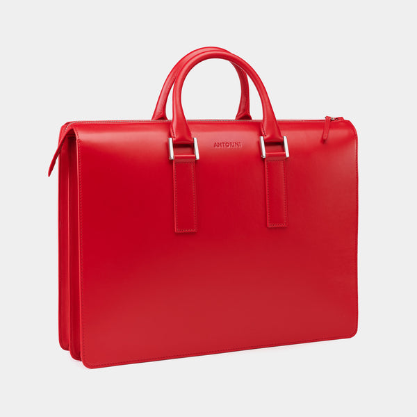 Leather Briefcase in Red-ANTORINI®