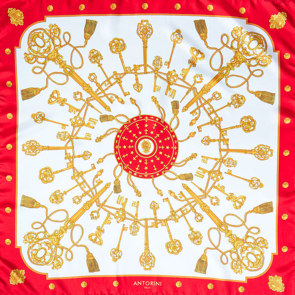 Golden Key Silk Scarf in Red-ANTORINI®