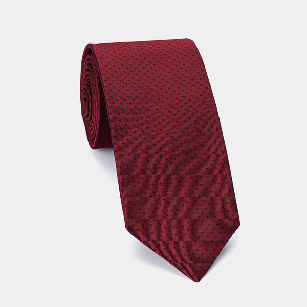 Silk Tie in Burgundy with Dots with hidden Pocket and Coral Pendant-ANTORINI®