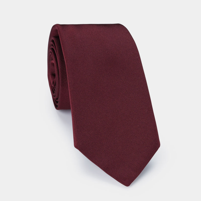 Silk Lucky Tie in Burgundy with Coral Charm-ANTORINI®