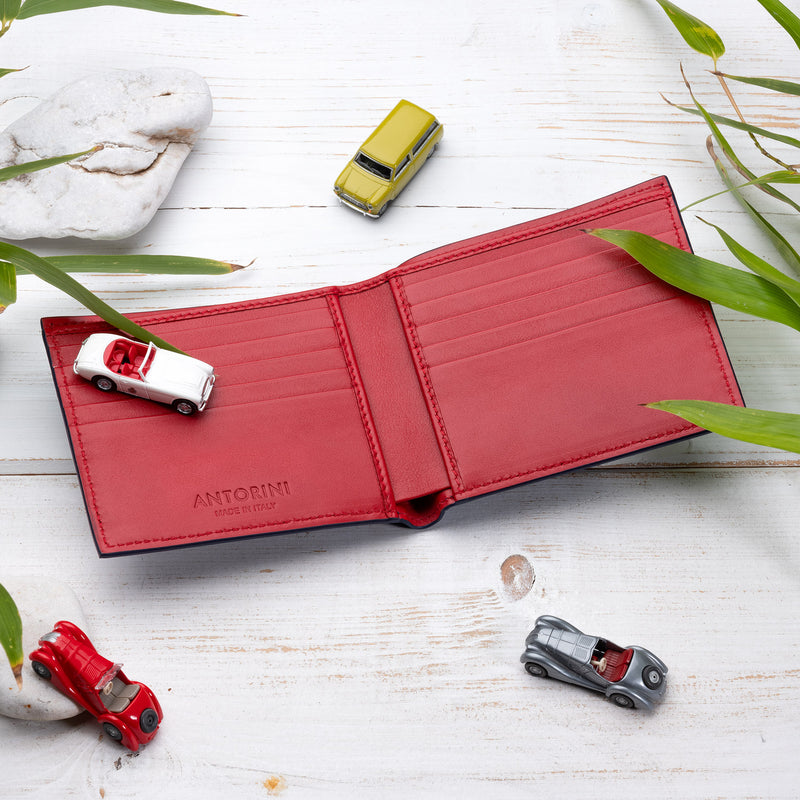 Bifold Wallet in Navy and Red-ANTORINI®