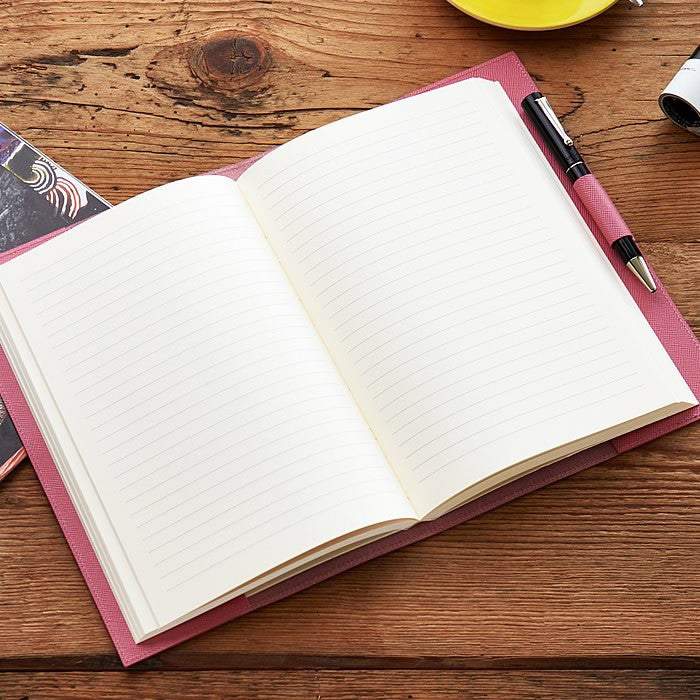 Leather Refillable Journal in Pink Saffiano
