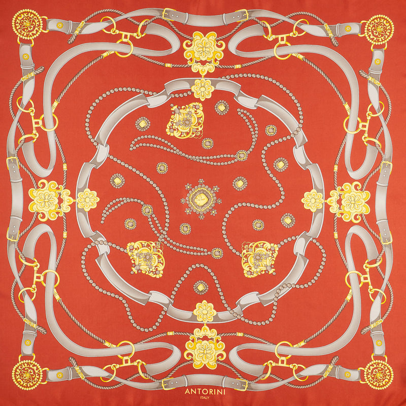 Gold & Bridle Scarf, Red-ANTORINI®
