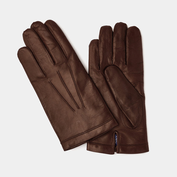 Leather Gloves for Men with Cashmere Lining in Brown-ANTORINI®