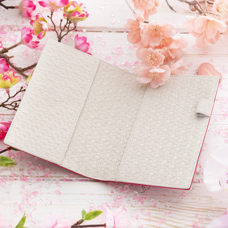 Leather A6 Diary in Fuchsia with Floral Interior-ANTORINI®