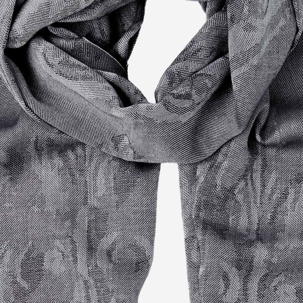 Men's Cashmere Scarf with Floral Motif in Grey-ANTORINI®