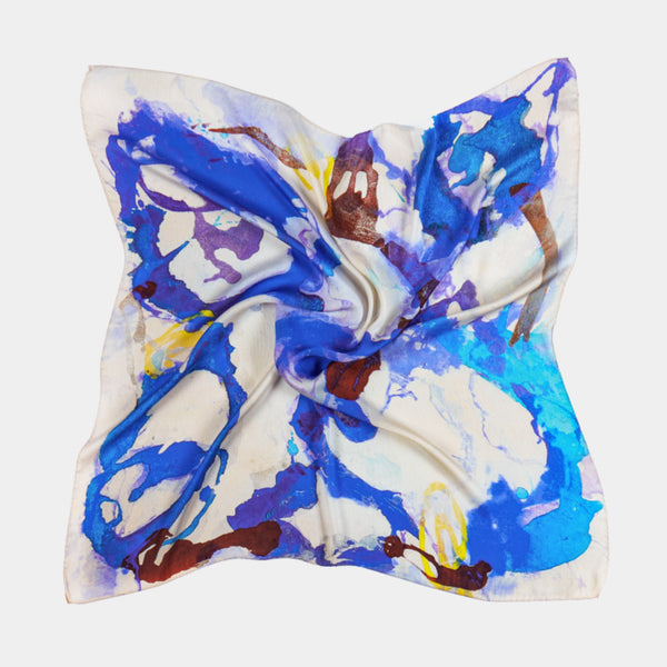 Silk Scarf in Blue and Purple, 90 cm-ANTORINI®