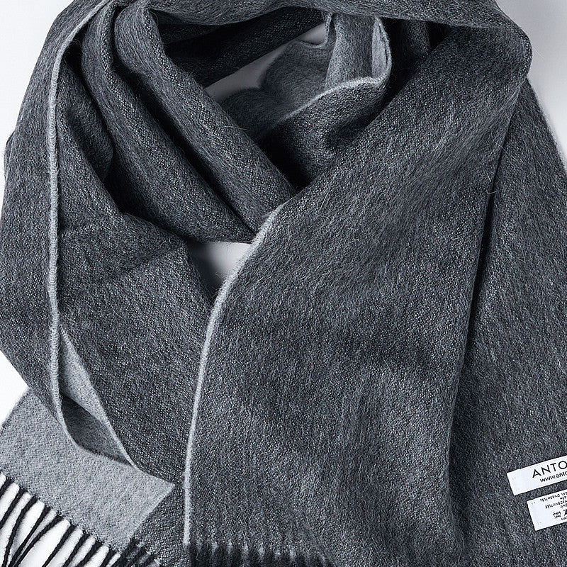 Wool Scarf in Silver/Black