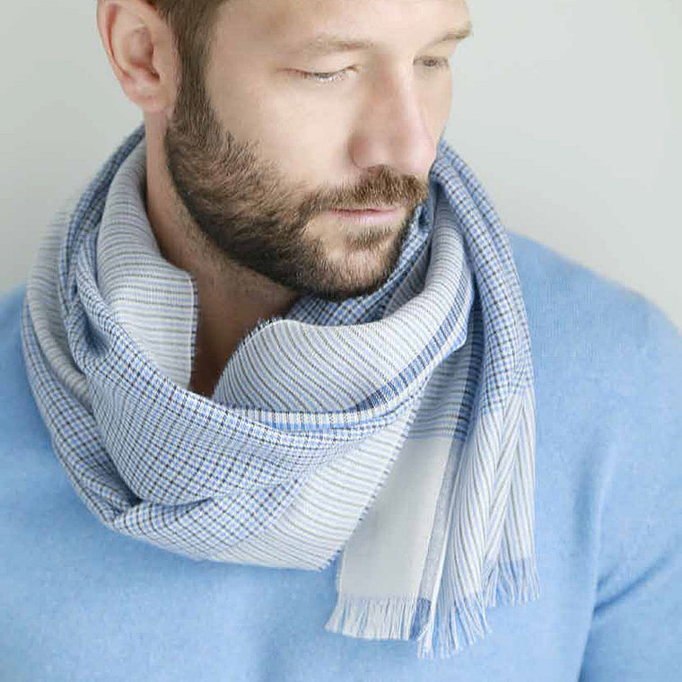 Light Cashmere Scarf in Blue
