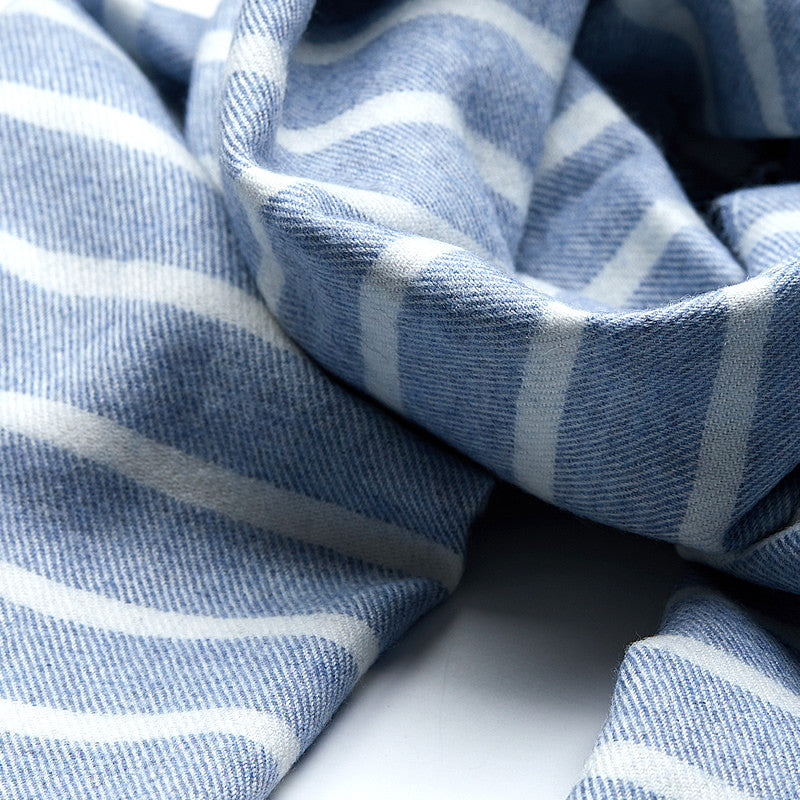 Merino Wool Scarf in Blue with stripes