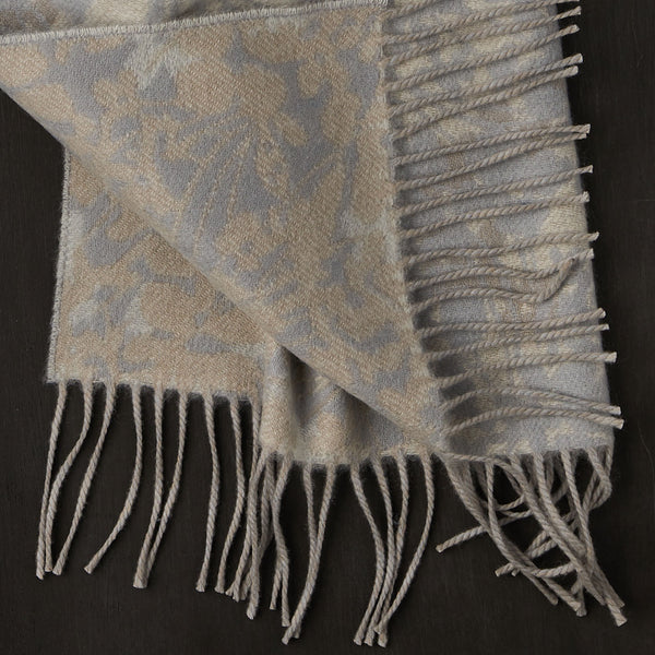 Cashmere Scarf with Floral Pattern in Beige and Grey