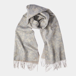 Cashmere Scarf with Floral Pattern in Beige and Grey-ANTORINI®