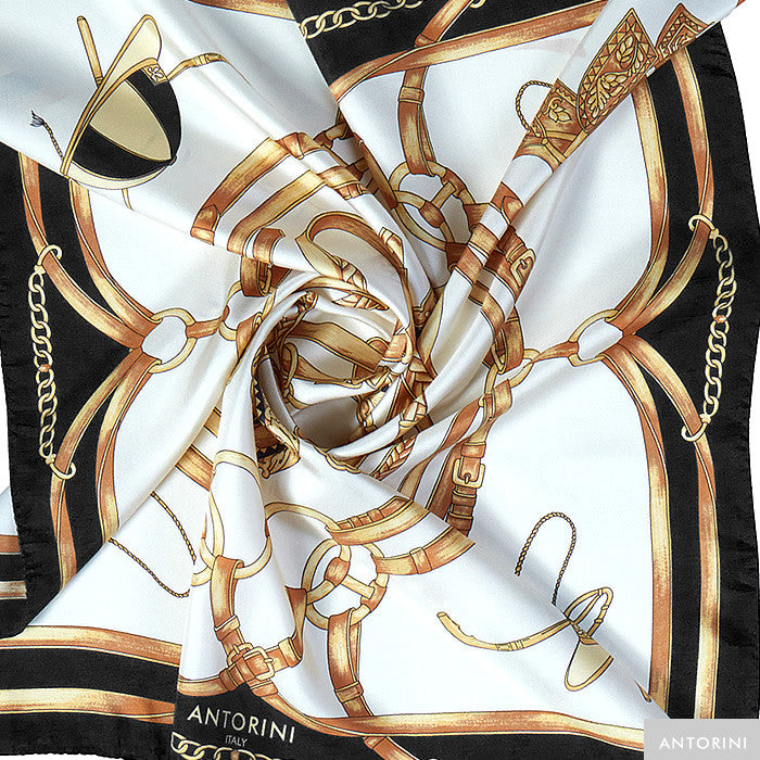 ANTORINI Jockey Silk Scarf in Black