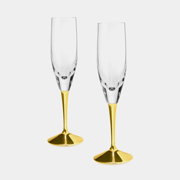 Set of Two Crystal Champagne Flutes, in Gold Plated Silver Applications, Silver 925/1000, 110 g-ANTORINI®