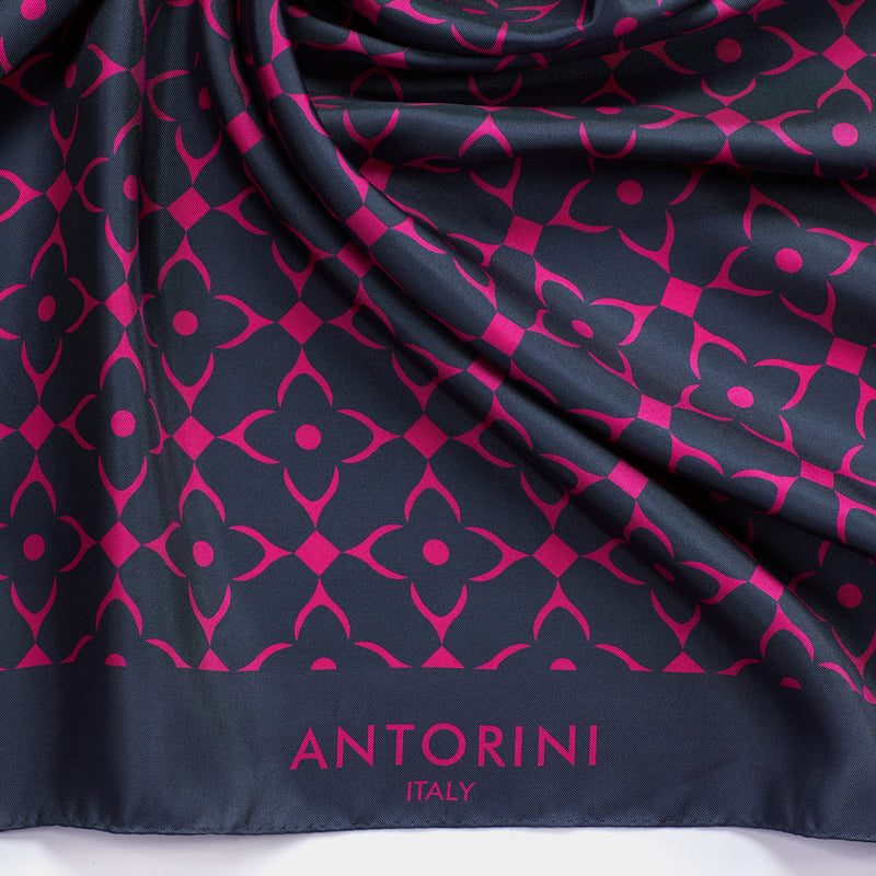 Geometric Silk Scarf - Metallic Grey-ANTORINI®