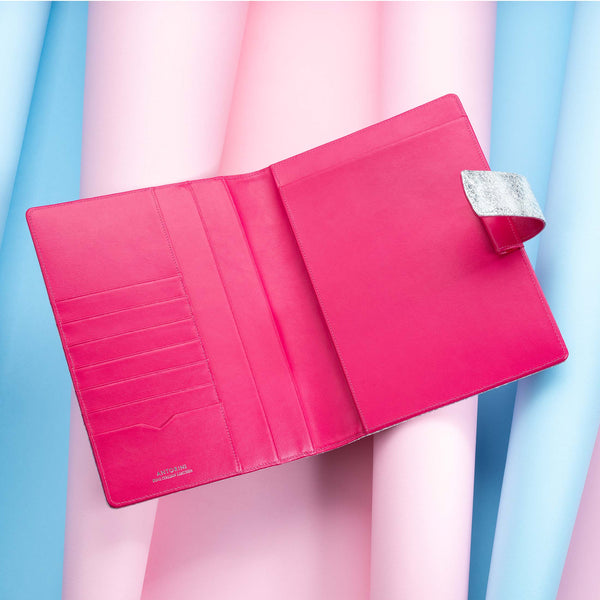 Leather A5 Padfolio in Silver and Fuchsia with Notepad-ANTORINI®