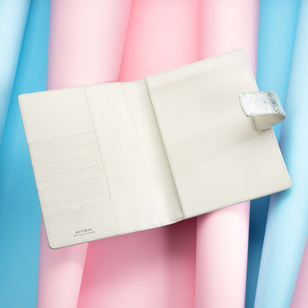 Leather A5 Padfolio in Silver and Ivory with Notepad-ANTORINI®