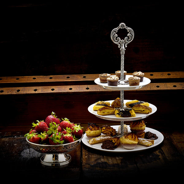 Porcelain Cake Stand 3 Levels, silver-plated-ANTORINI®