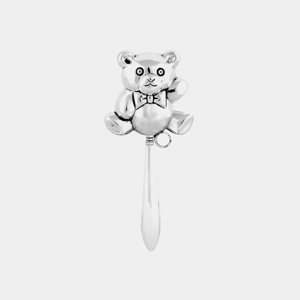 Baby Rattle Teddy Bear, silver-plated-ANTORINI®