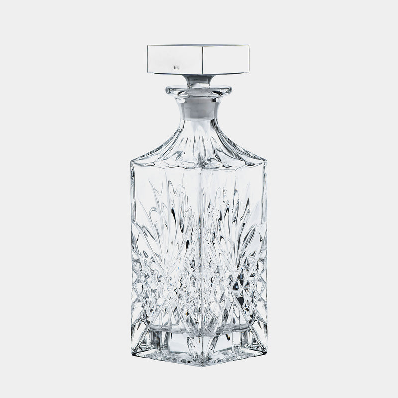 Glass Whiskey Decanter Carafe Vienna, Silver-Plated Decoration-ANTORINI®