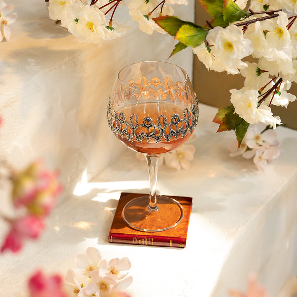 Set of Wine Glasses Decorated With Silver plated Floral Ornaments-ANTORINI®