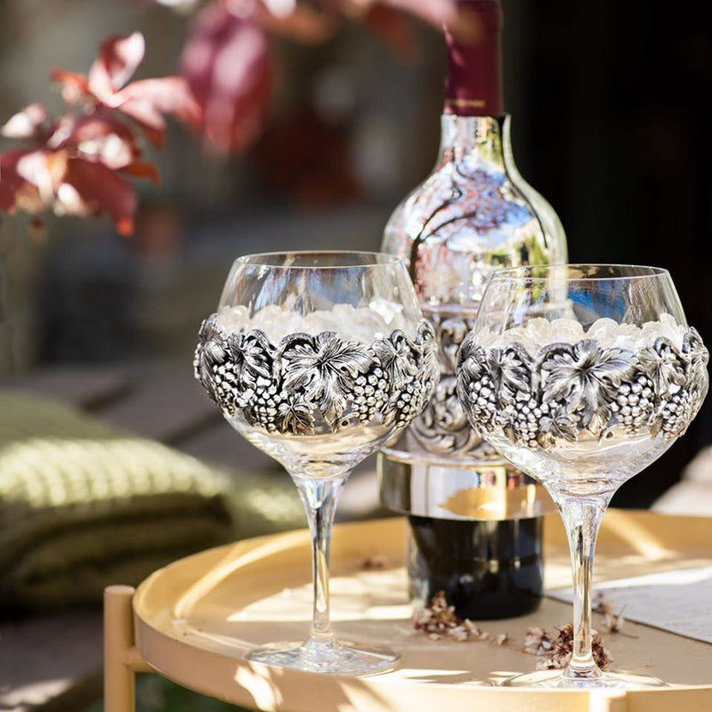 Set of Wine Glasses Decorated With Silver plated Leaves nad Grapes-ANTORINI®
