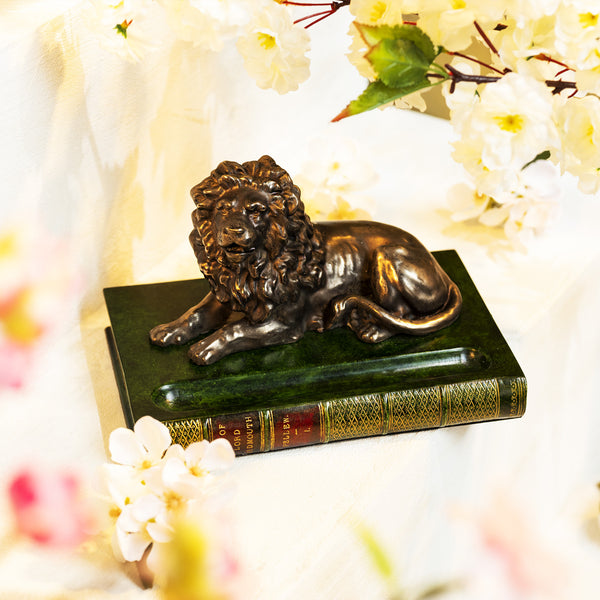 Pen Holder with Bronzed Lion, Green-ANTORINI®