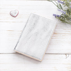 A6 Leather Pocket Diary in Silver and Ivory
