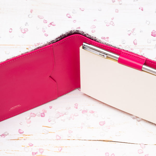 Pocket Memo Pad in Silver and Fuchsia-ANTORINI®