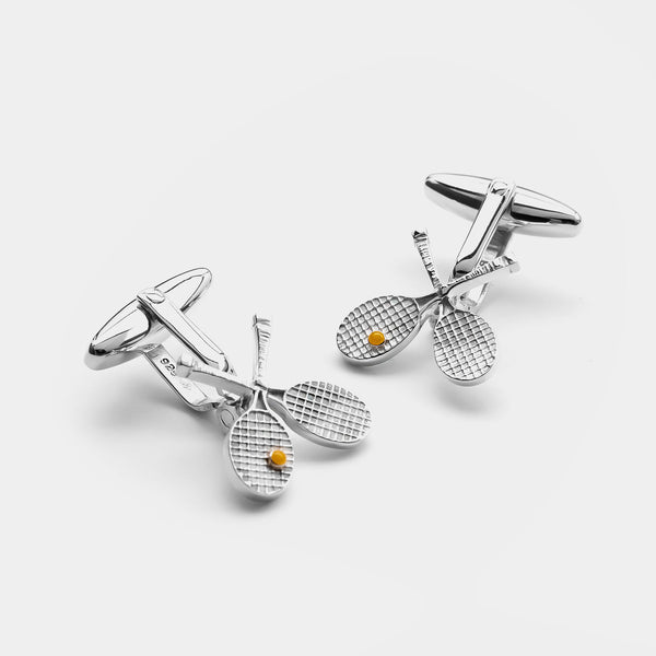 Men's Tennis Silver Cufflinks, silver 925/1000, 3,6 g-ANTORINI®