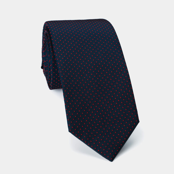 Silk Lucky Tie in Navy with Red Dots And Coral Charm-ANTORINI®